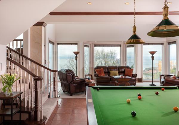 Billards room of Ocean front home Victoria